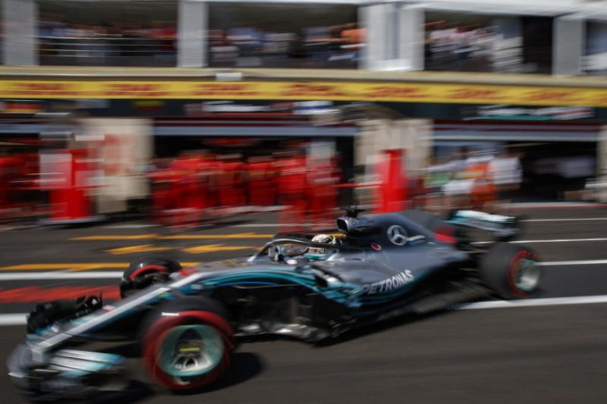 British Formula One driver Lewis Hamilton of Mercedes AMG GP in action during the second practice session at Paul Ricard circuit in Le Castellet, France, on June 22, 2018.