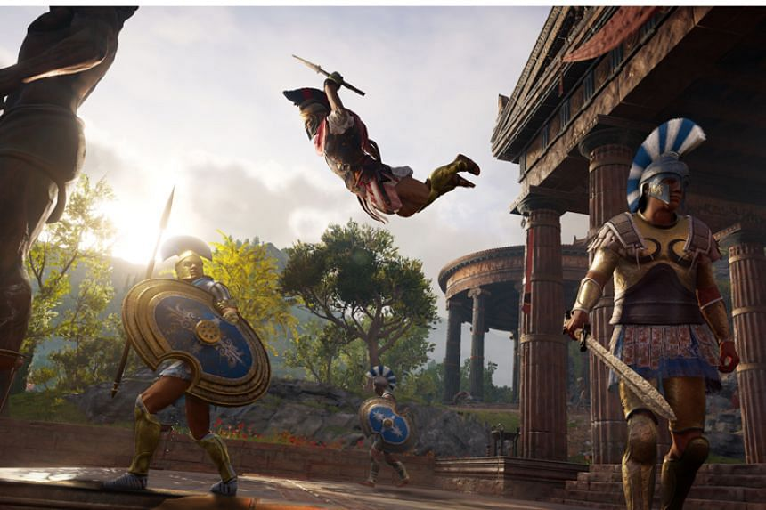 A screenshot from Assassin's Creed: Odyssey showing off a sneak attack.