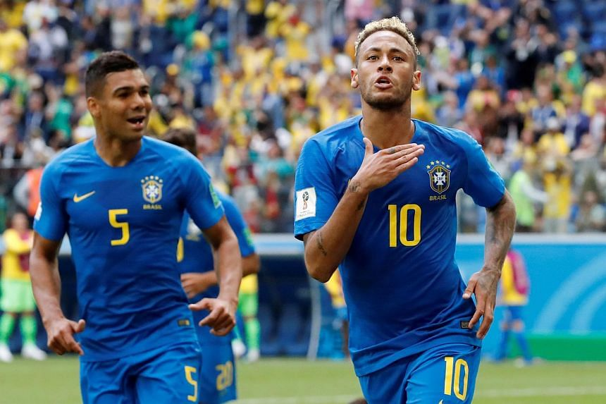 Brazil's Neymar celebrates after scoring a goal against Costa Rica during a World Cup match between the two nations, on June 22, 2018.