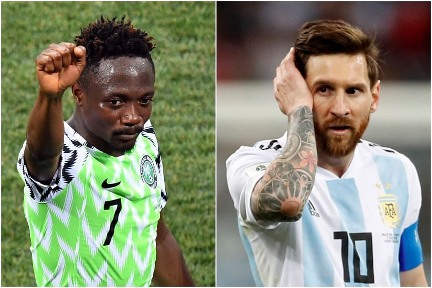 Nigeria's goal hero Ahmed Musa (left) has expressed confidence ahead of the World Cup showdown with Lionel Messi's Argentina on June 27, 2018.