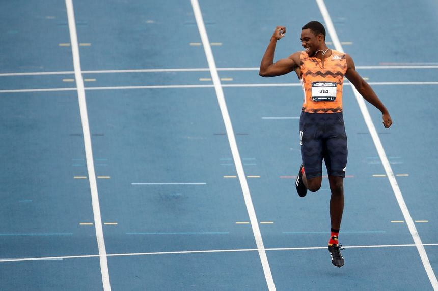 Noah Lyles celebrates after winning the Men's 100m final at the 2018 USATF Outdoor Championships, on June 22, 2018.