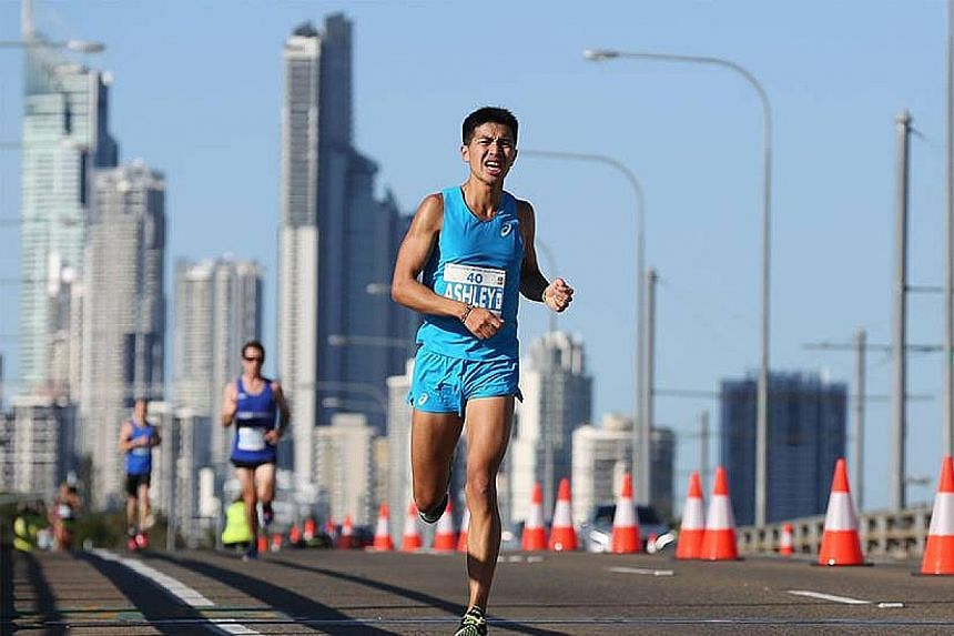 Singapore marathoner Ashley Liew finishing the Gold Coast Marathon in 2:35:40 in 2012. He will be running this race for the fifth time next Sunday and it will be his 30th over the 42.195km distance.