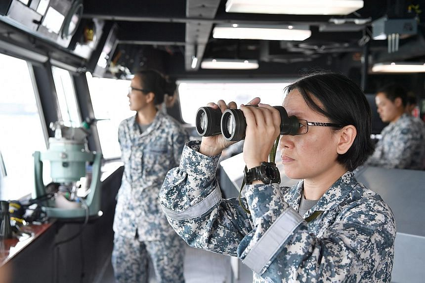 Mrs Boon Hui Seng on bridge watchkeeping duty on board the RSS Persistence. The 47-year-old joined the SAFVC in 2016.
