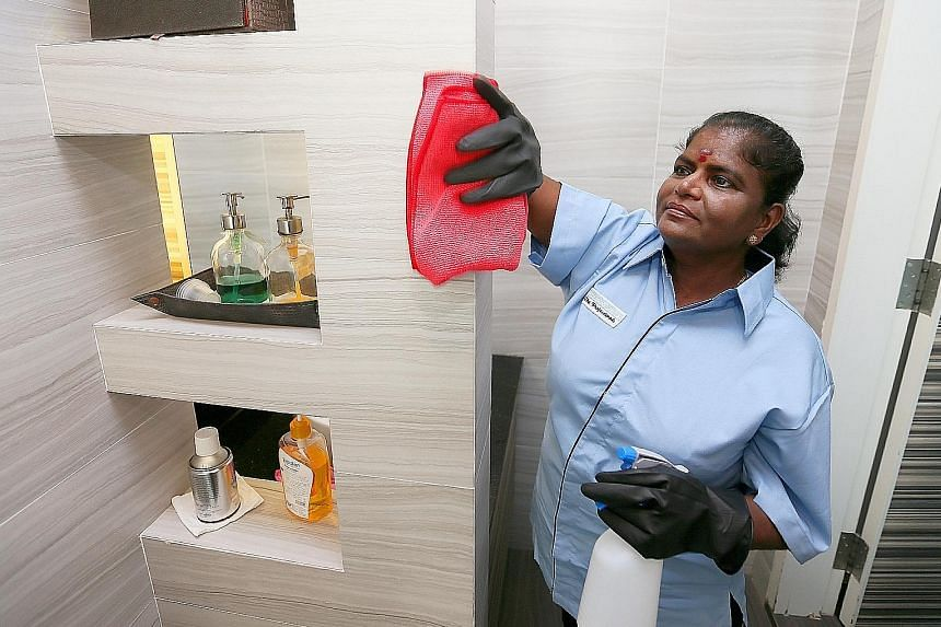 Cleaner Sucila Rajoo, whose basic monthly salary was $600 when she started work 18 years ago, now earns $1,300, plus an incentive of $100 a month for good attendance and performance. The mother of three has much more financial freedom and can even se