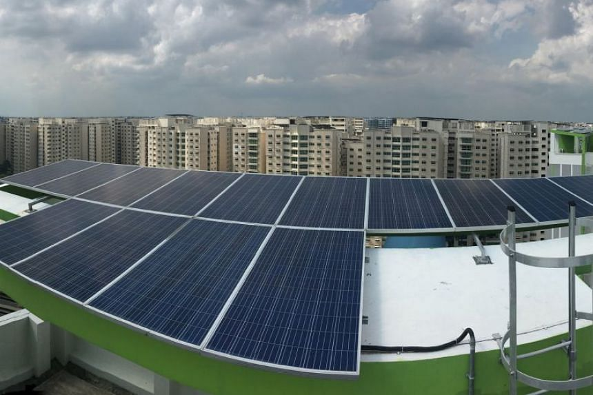 Solar panels at Punggol Edge, where the pilot for solar-ready roofs began. Solar panels are set to be installed in blocks of public flats managed by the West Coast and Choa Chu Kang town councils, with work beginning in the current third quarter.