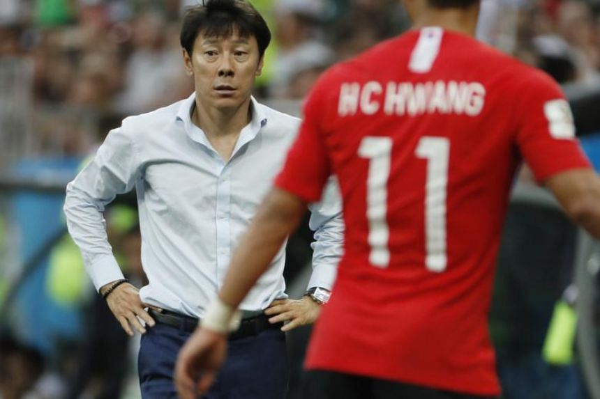 South Korea's coach Shin Tae-yong reacts during the World Cup 2018 group F football match between South Korea and Mexico in Rostov-On-Don, Russia, on June 23, 2018.