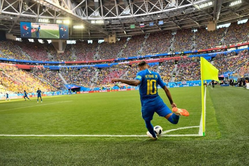 Brazil's forward Neymar takes a corner during the Russia 2018 World Cup Group E football match between Brazil and Costa Rica at the Saint Petersburg Stadium in Saint Petersburg on June 22, 2018.