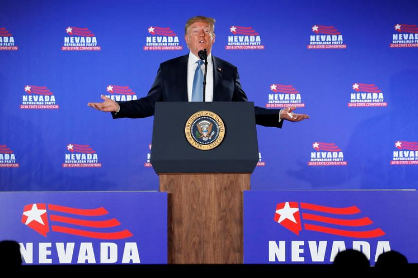 US President Donald Trump speaks at the Nevada Republican Party Convention in Las Vegas, Nevada, on June 23, 2018.