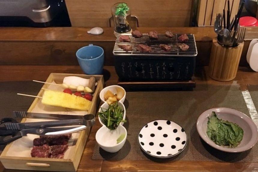 Skirt steak is grilled at Hongo