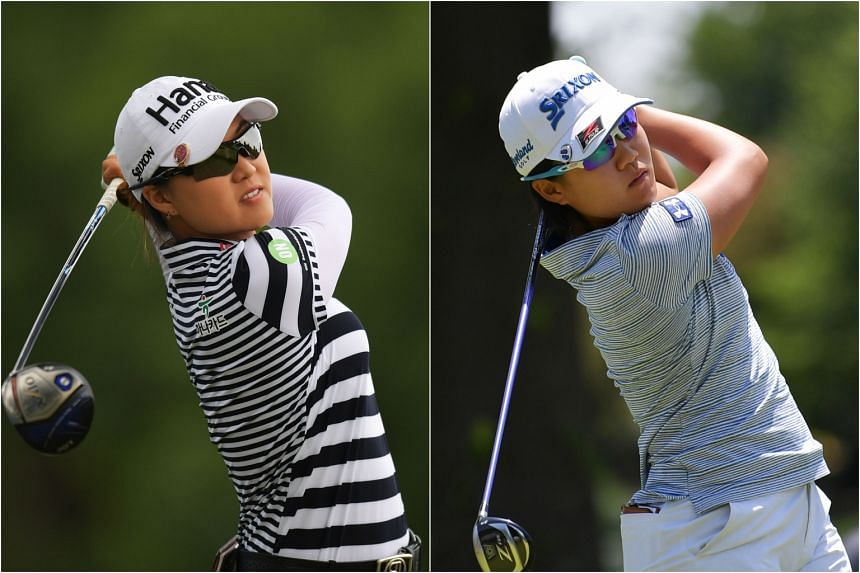 Lee Min Jee (left) and Nasa Hataoka finished in joint first place on the second day of the LPGA Tour's NW Arkansas Championship on June 23, 2018.