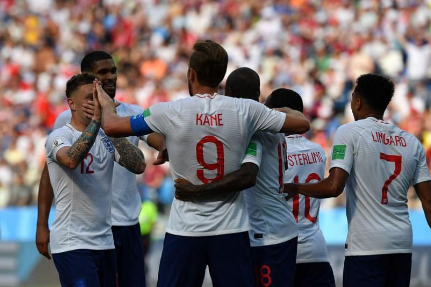 England forward Harry Kane celebrating with teammates during their World Cup match against Panama on June 24, 2018.