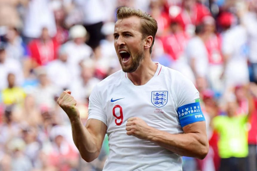 England captain Harry Kane celebrating after scoring his team's fifth goal against Panama during their World Cup match on June 24, 2018.