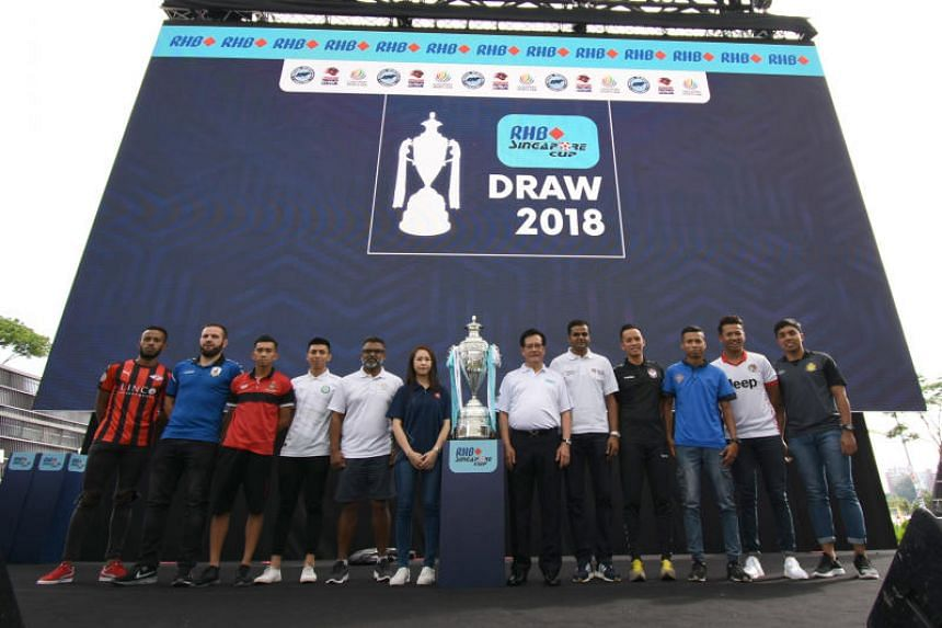 Team representatives at the draw for the 21st edition of the RHB Singapore Cup at the Sports Hub on June 24, 2018.