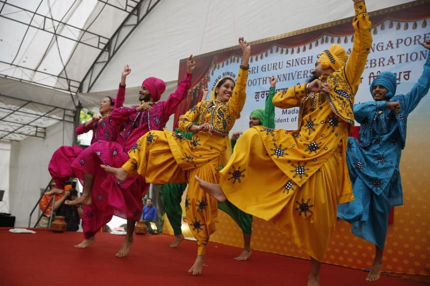 Dancers performing during the 100th anniversary celebration at the Sri Guru Singh Sabha Singapore, on June 24, 2018.