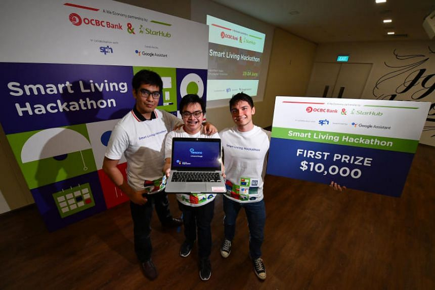(From left) Mr Mark Lven Tupa Palejaro, Mr Choo Yan Sheng and Mr Alexander McColl, together with Mr Albert Puah (not in picture), won the top prize at the Smart Living Hackathon on June 24, 2018.