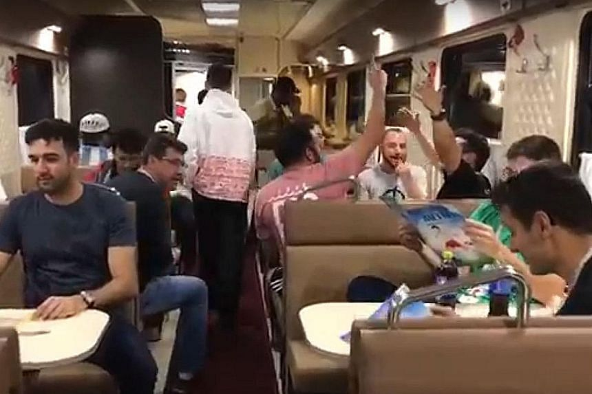 Clockwise, from left: The overnight train journey from Moscow's Leningradsky station to St Petersburg's Moskovsky is about eight hours, and is free for those with a World Cup ticket and Fan ID; Brazilian and Mexican fans still making merry in the min