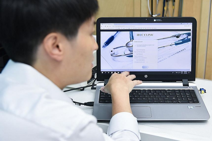 Dr Poh Pei Ghim, iDoc's chief medical informatics officer, demonstrating the use of the iDoc service. Because virtual consultations involve no physical examinations, doctors are extra cautious. For example, they will not see emergency cases or those