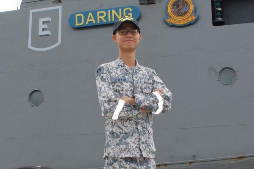Full-time national serviceman Koh Zhi Hao currently serves on the Singapore Navy's patrol vessel RSS Daring of 182 Squadron.