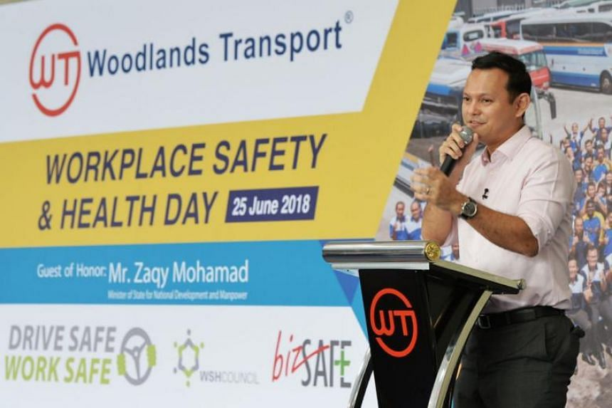 Minister of State for National Development and Manpower Zaqy Mohamad launched the Drive Safe, Work Safe campaign on June 25, 2018.