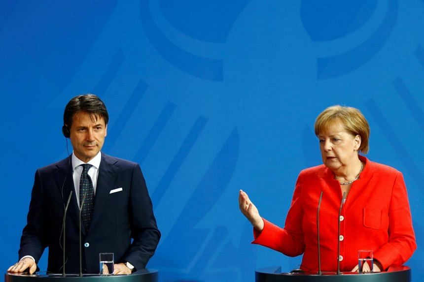 Italian prime minister Guiseppe Conte (left) and German Chancellor Angela Merkel are trying to move the European Union towards their competing positions on migration before a summit this week.