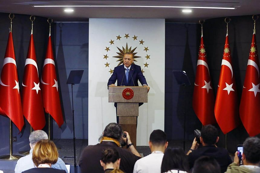 Turkish President Recep Tayyip Erdogan speaking at a press conference after voting closed for the Turkish presidential and parliamentary elections in Istanbul, Turkey, on June 24, 2018.