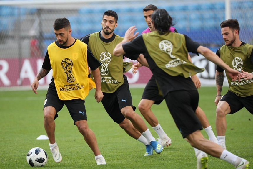 Uruguay's players in action during a team training session at the Cosmos Arena in Samara, Russia, on June 24, 2018.