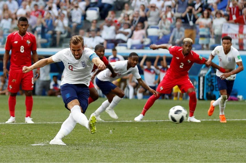 England's Harry Kane scoring a goal from the penalty spot during the game against Panama, on June 24, 2018, at the Nizhny Novgorod Stadium.