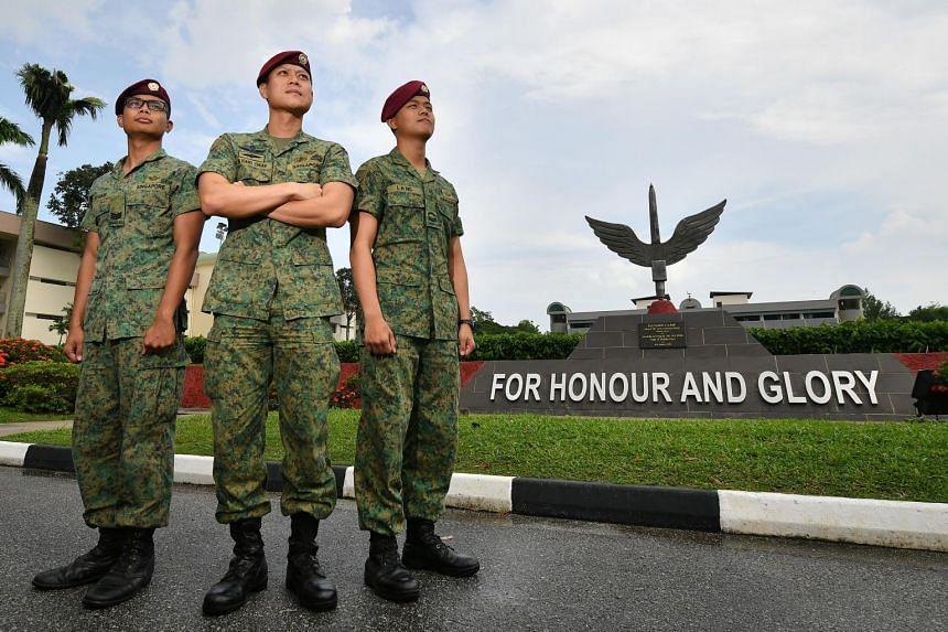 (From left) Third Sergeant Muhammed Syakir Zainol, Lieutenant-Colonel Ng Kiang Chuan and commando medic, Corporal Joshua Ng, at Hendon Camp, on June 14, 2018.