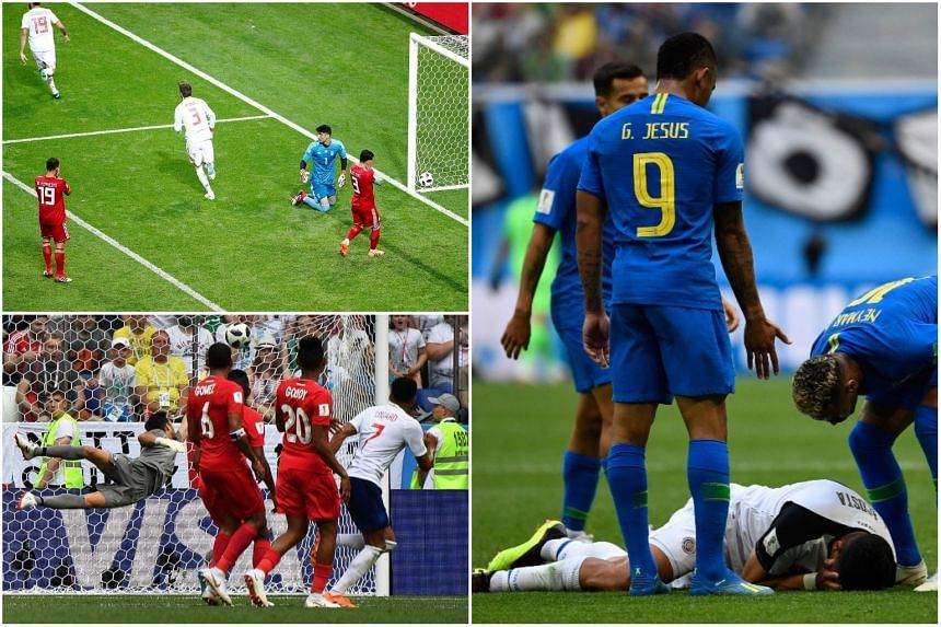 (Clockwise from top left) Spain's Diego Costa celebrates scoring against Spain, Neymar reacts during Brazil's match against Costa Rica, and England's midfielder Jesse Lingard scores a goal in their match against Panama.