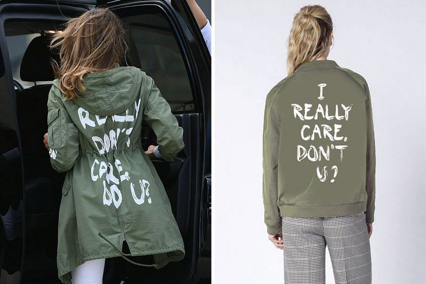 """Wildfang sold its take (above) on the jacket with the words, """"I really don't care, do U?"""" (left), that US First Lady Melania Trump wore during a visit to a Texas shelter housing migrant children last Thursday."""