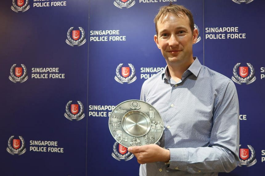 Mr Keith Goldfinch was awarded the Public Spiritedness Award by the Singapore Police Force on June 25, 2018.