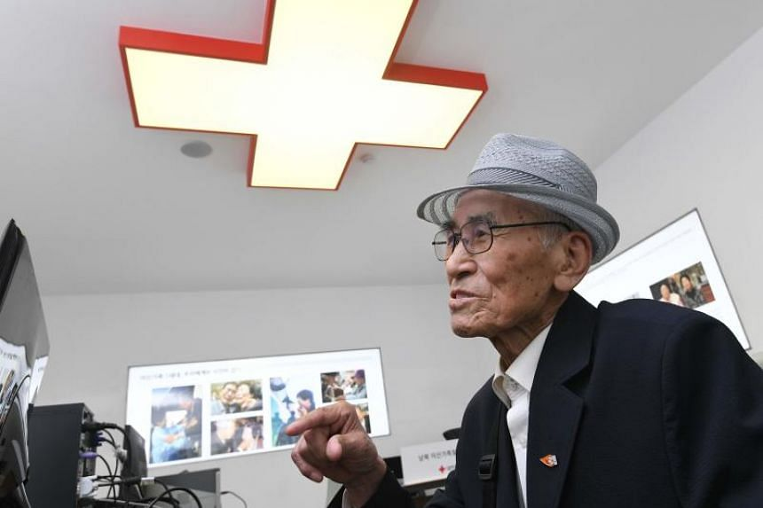 An elderly South Korean man visits the Red Cross office in Seoul on June 22, 2018, to fill out applications for an expected inter-Korean family reunion programme.