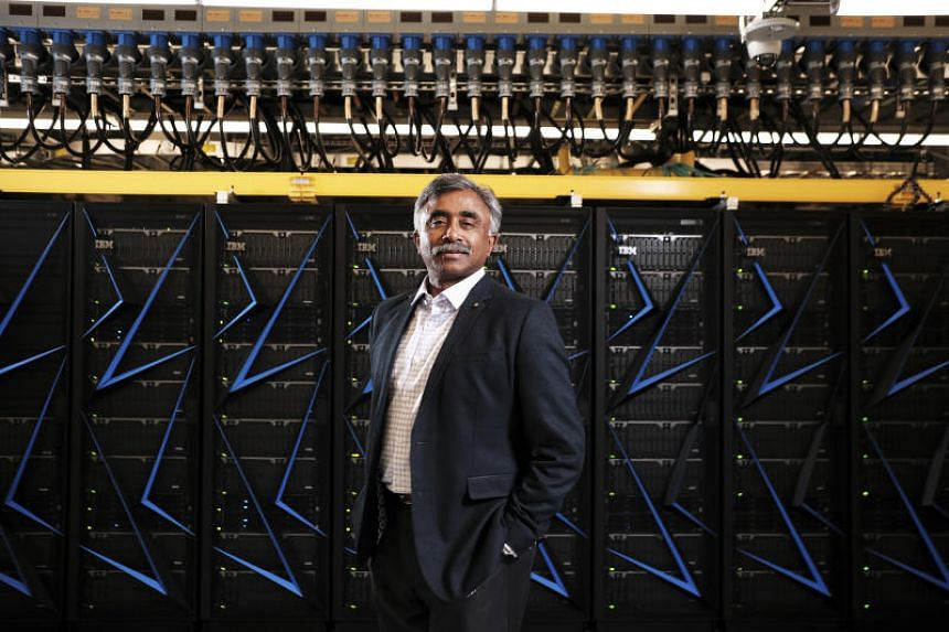 Director of the Oak Ridge National Laboratory Thomas Zacharia, in front of the lab's latest supercomputer, Summit, in Oak Ridge, Tennessee, on June 6, 2018.