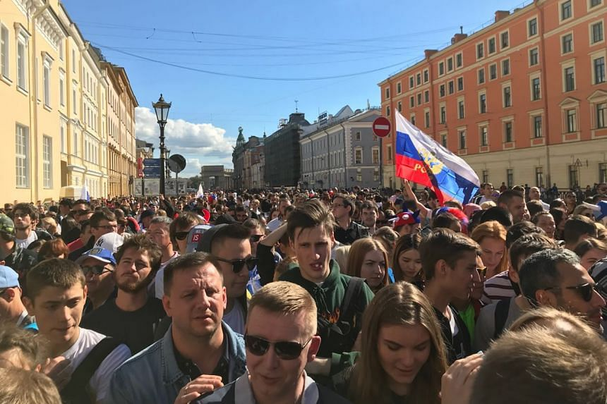 A short kilometre's walk along the scenic Griboyedov Canal leading to the Saint Petersburg Fifa Fan Fest next to the majestic Church of the Saviour on Blood turned out to be a 45-minute snail's crawl.