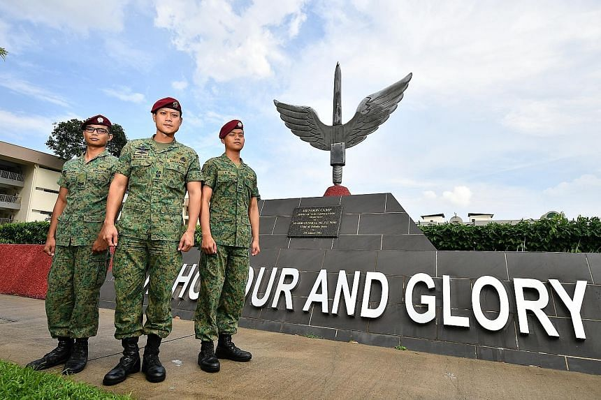 (From left) Third Sergeant Muhammed Syakir Zainol, Lieutenant-Colonel Ng Kiang Chuan and Corporal Joshua Ng from the 1st Commando Battalion. The unit won the Singapore Armed Forces' Best Combat Unit award for the 15th consecutive year.