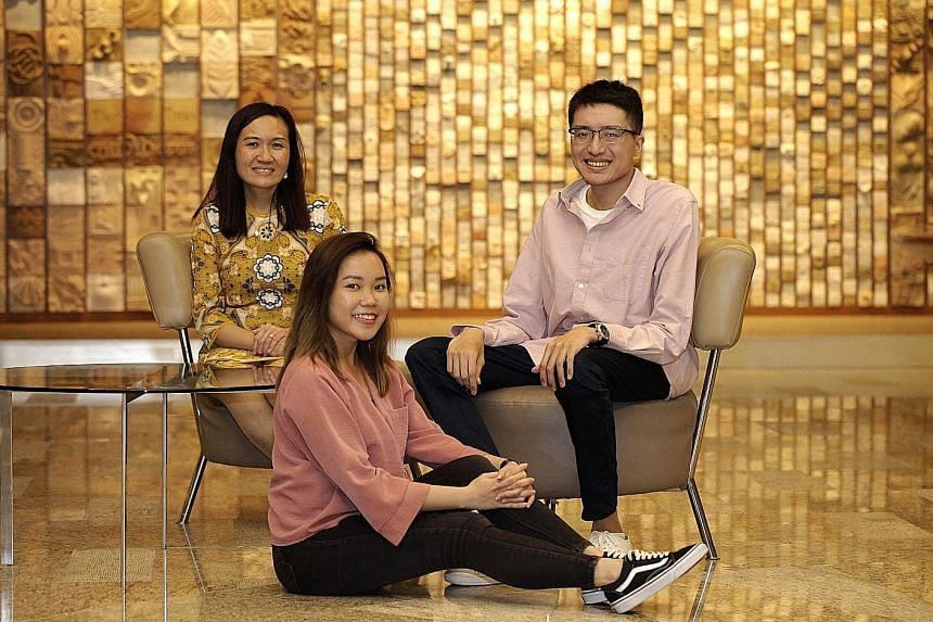 (From left) Scoliosis Support Singapore co-founder and president Jasmine Liew, with group members Nadia Tan and Aaron Yap. The group now has 216 members and they conduct meet-ups twice a year to give encouragement to those considering surgery. They a