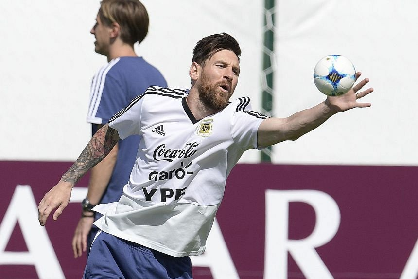 Lionel Messi in training at the team's base camp in Bronnitsy yesterday. Argentina have no room for error against Nigeria today.