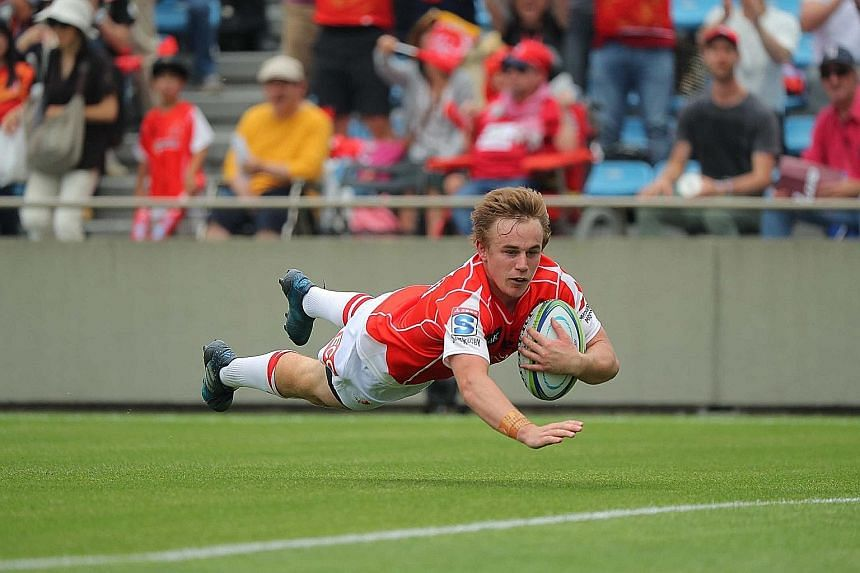 Hayden Parker crossing for a Sunwolves try. The team need a win from their remaining three games to better last season's two-win record.