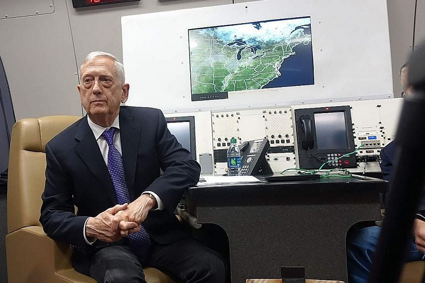 US Defence Secretary James Mattis aboard his official aircraft, on a trip taking him to China, South Korea and Japan.