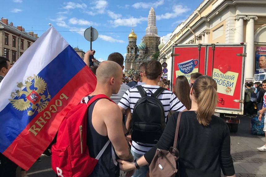 The crowd was packed but orderly and fans generally remained patient and civil in St Petersburg.