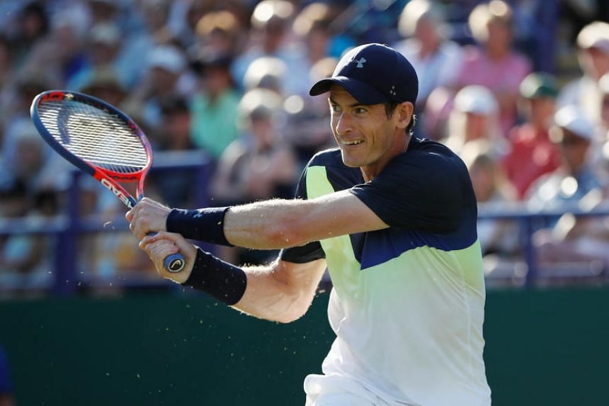 Britain's Andy Murray at his first round match against Switzerland's Stan Wawrinka in Devonshire Park, Eastbourne, Britain, on June 25, 2018.