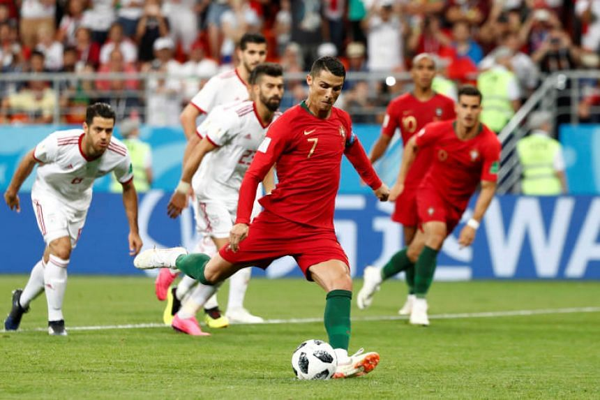Portugal's Cristiano Ronaldo has a penalty saved by Iran's Alireza Beiranvand at the Mordovia Arena, Saransk, Russia, on June 25, 2018.