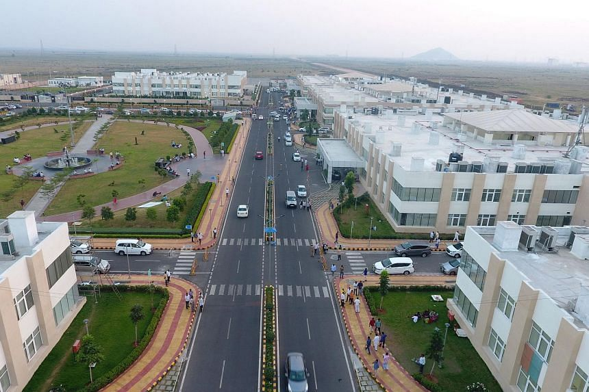 """An aerial view of the under construction """"city"""" of Amaravati, the envisioned capital of Andhra Pradesh."""