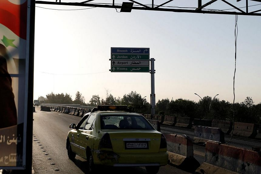 File photo showing a vehicle on the main road to the airport in Damascus, Syria, on April 14, 2018.