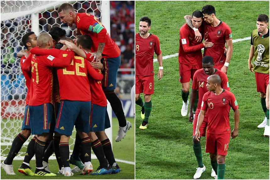 The Spanish (left) and Portuguese football teams celebrating during their matches in the World Cup. Both nations progressed to the tournament's round of 16.