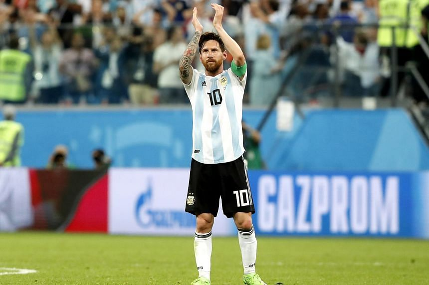 Lionel Messi of Argentina celebrating after the FIFA World Cup 2018 group D preliminary round football match between Nigeria and Argentina in St.Petersburg, Russia, on June 26. 2018.