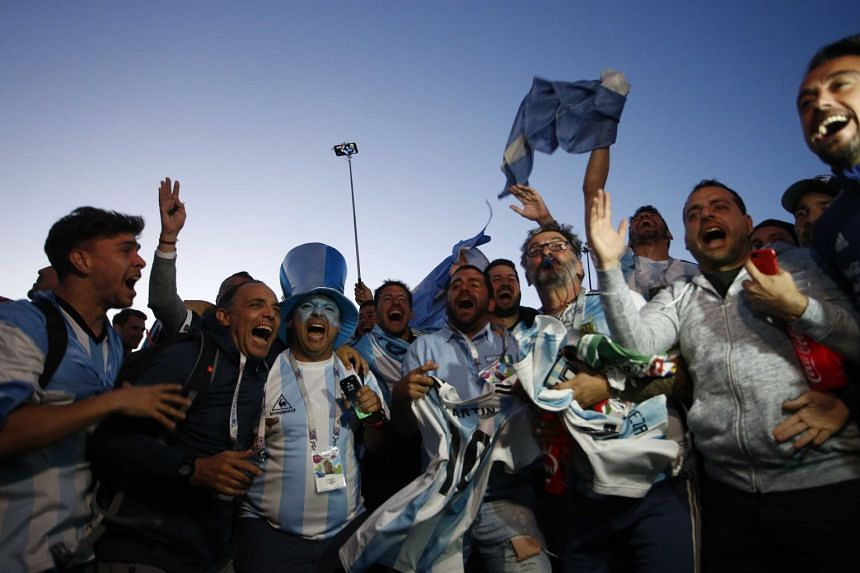 Fans celebrating Argentina's victory over Nigeria after the match in Saint Petersburg, Russia, on June 26, 2018.