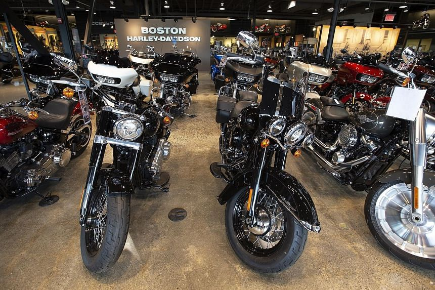 Harley-Davidson motorcycles at a dealership in Massachusetts. Harley-Davidson said on Monday it would move some US production overseas due to the cost of the European Union's retaliatory tariffs on its bikes. But US President Donald Trump said it was