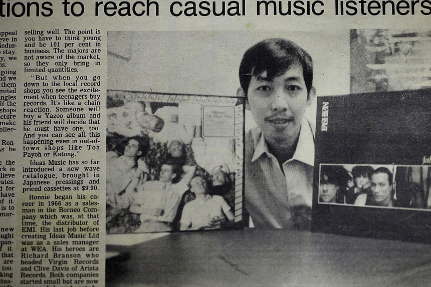 Mr Loh with albums he reintroduced to the market in 1984 after setting up Ideas Music record to distribute records and cassettes to shops. Mr Ronnie Loh's career in the music industry spanned some 40 years, including sales stints with record labels l