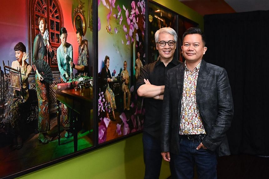Amek Gambar: Peranakans And Photography exhibition co-curator Peter Lee (left) and Peranakan Museum general manager John Teo with some works on display. Baba in a sarong kebaya. Portrait of Oei Tiong Ham. Lee Poh Neo's selfie. Peranakan bride and gro